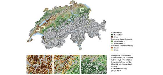 Mögliche Vorranggebiete für die Bodenkartierung rund um Siedlungen.