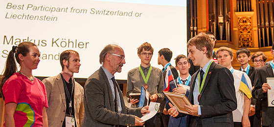 Award ceremony of IphO 2016 in Zurich