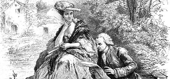 Cette image montre Jean-Jacques Rousseau lisant à Madame d'Epinay. © Keystone/Interfoto/collection Rauch