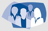 Piktogramm Wahlen mit der Silhouette von vier Personen