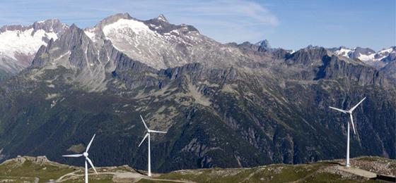 Dieses Bild zeigt Windräder in der Schweiz. © Keystone