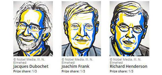 Portrait der drei Nobelpreisträger für Chemie 2017