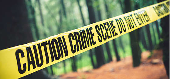 Dieses Bild zeigt ein Signalband der Polizei an einem Tatort.