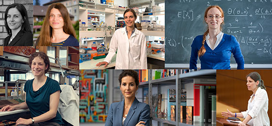 Portraits of seven laureates of the Marie Heim-Vögtlin Prize