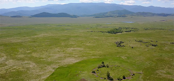 Aerial view of the burial mound Tunnug 1 (Arzhan 0). A distinct circle can be seen on one plane