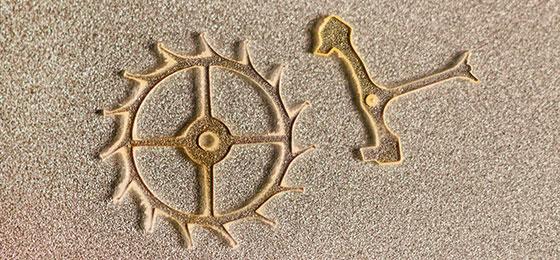 Das Bild zeigt eine mikromechanische Komponente aus Diamant.