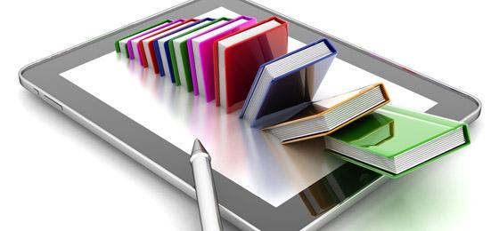 Das Foto zeigt eine Fotomontage mit einem iPad und darin versinkenden Büchern. © Fotolia