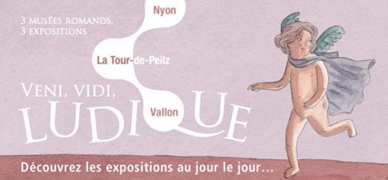 Dieses Bild zeigt das Plakat der Ausstellung Veni, vidi, ludique mit drei spielenden Kindern. © Veni, vidi, ludique