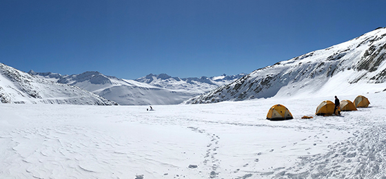 The Rhone Glacier with the researchers' camp.