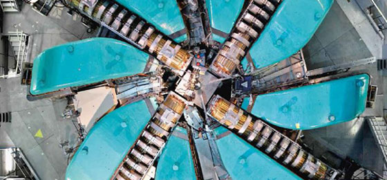 The ring cyclotron of the PSI proton accelerator, seen from above. © Paul Scherrer Institute, Markus Fischer